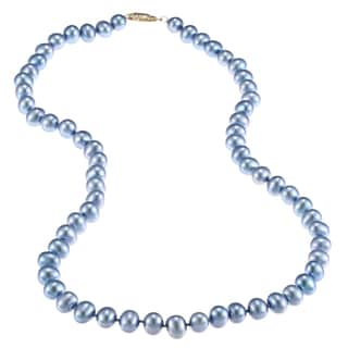 DaVonna 14k 6.5-7mm Bule Freshwater Cultured Pearl Strand  Necklace (16-36 inches)