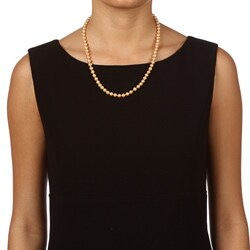 DaVonna 14k Gold Golden FW Pearl 20-inch Necklace (6.5-7 mm) - Thumbnail 2