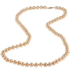 DaVonna 14k Gold Golden FW Pearl 24-inch Necklace (6.5-7 mm)
