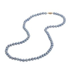 DaVonna 14k Gold Blue FW Pearl 24-inch Necklace (6.5-7 mm)