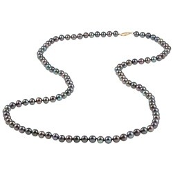 DaVonna 14k Gold Peacock Black FW Pearl 30-inch Necklace (6.5-7 mm)