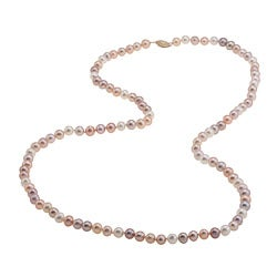 DaVonna 14k Gold Multi Pink FW Pearl 30-inch Necklace (6.5-7 mm)