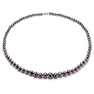 DaVonna Peacock Black FW Pearl 48-inch Endless Necklace (6.5-7 mm)