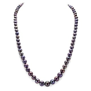 DaVonna Peacock Black Freshwater Pearl Endless Necklace 48 Inch