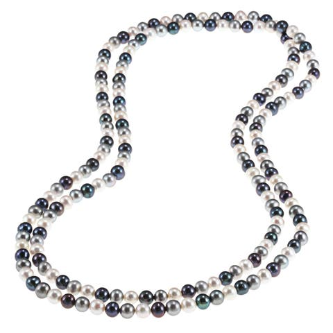 DaVonna Multi Dark Freshwater Pearl Endless Necklace, 48-inch