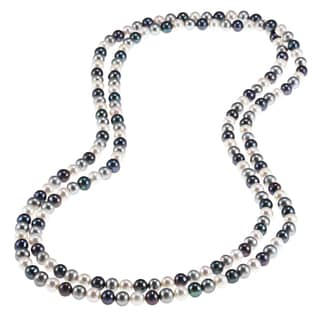 DaVonna Multi Dark Freshwater Pearl Endless Necklace 48 Inch