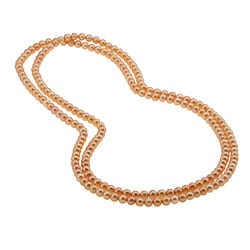 DaVonna Golden FW Pearl 52-inch Endless Necklace (6.5-7 mm)