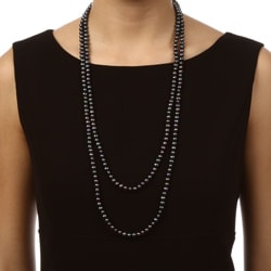 DaVonna Peacock Black FW Pearl 64-inch Endless Necklace (6.5-7 mm)