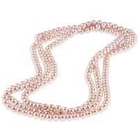 DaVonna Pink FW Pearl 64-inch Endless Necklace (6.5-7 mm)