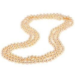 DaVonna Golden FW Pearl 64-inch Endless Necklace (6.5-7 mm)