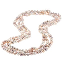 DaVonna Multi Pink FW Pearl 72-inch Endless Necklace (6.5-7 mm)