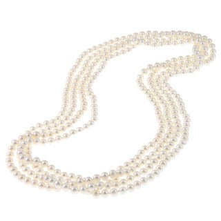 DaVonna 6-7mm White Freshwater Pearl 100-inch Endless Necklace