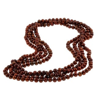 DaVonna Chocolate FW Pearl 100-inch Endless Necklace (6.5-7 mm)