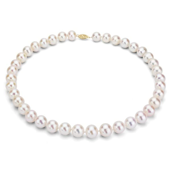 DaVonna 14k Yellow Gold 7-7.5mm White Freshwater Pearl Necklace, 16""