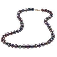 DaVonna 14k Gold Black Freshwater Pearl 16-inch Necklace (7-8 mm)