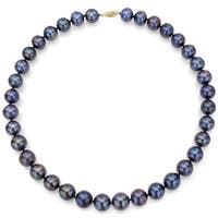 DaVonna 14k Yellow Gold 7-8mm Peacock Freshwater Pearl Necklace (18-36 inches) - Red/White