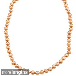 DaVonna 14k 7-7.5mm Gold Freshwater Cultured Pearl Strand  Necklace (16-36 inches)