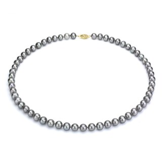 DaVonna 14k Gold 7 8mm Grey Freshwater Cultured Pearl Strand Necklace