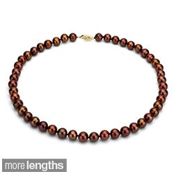 DaVonna 14k 7-7.5mm Chocolate Freshwater Cultured Pearl Strand  Necklace (16-36 inches)