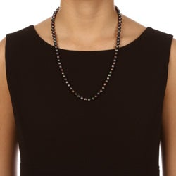 DaVonna 14k Gold Peacock Black FW Pearl 24-inch Necklace (7-7.5 mm)