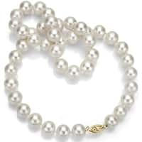 DaVonna 14k Gold 7-8 mm White Freshwater Pearl Necklace 30-inch