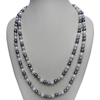 DaVonna 7-8 mm Dark Multi-colored Freshwater Pearl Endless Necklace, 48-inch