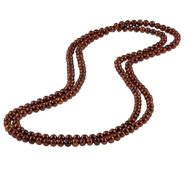 DaVonna Brown FW Pearl 48-inch Endless Necklace (7-7.5 mm)