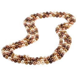 DaVonna 7-8mm Champagne Freshwater Pearl Endless Necklace, 72""
