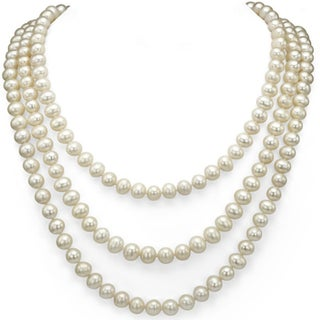 DaVonna 7-8mm White Freshwater Pearl Endless Necklace (Option: 100 Inch)