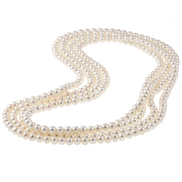 DaVonna 7-8mm White Freshwater Pearl Endless Necklace