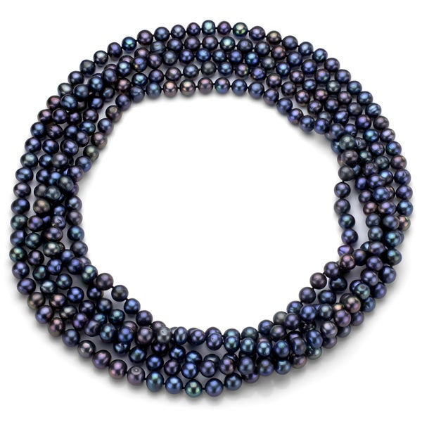 f846fa7bd97b37 Shop DaVonna 7-8 mm Black Freshwater Pearl Endless Necklace 100-inch ...