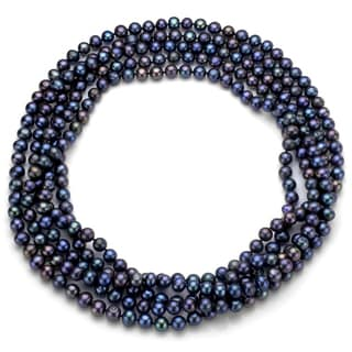 Black Freshwater Pearl 100-inch Endless Necklace (7-7.5 mm)