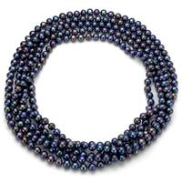 DaVonna 7-8 mm Black Freshwater Pearl Endless Necklace 100-inch