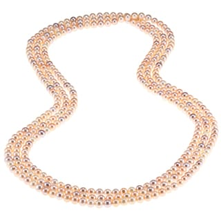 """DaVonna 7-8mm Multi-colored Pink Freshwater Pearl Endless Necklace, 100"""""""