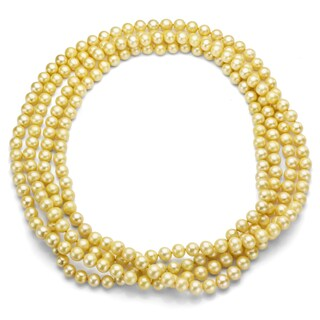Gold Freshwater Pearl 100-inch Endless Necklace (7-7.5 mm)