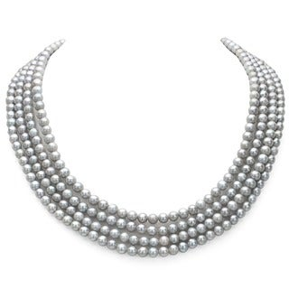 Grey Freshwater Pearl 100-inch Endless Necklace (7-7.5 mm)