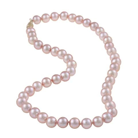 DaVonna 14k Gold Pink FW Pearl 16-inch Necklace (7-8 mm)
