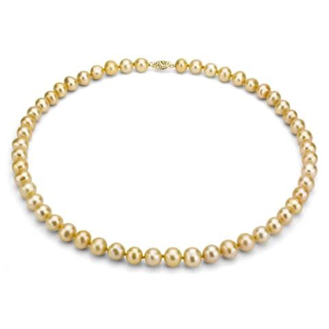 DaVonna 14k Gold Golden FW Pearl 16-inch Necklace (7.5-8 mm)