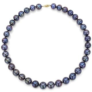 DaVonna 14k Yellow Gold Black Freshwater Cultured Pearl Strand Necklace (7.5-8 mm)