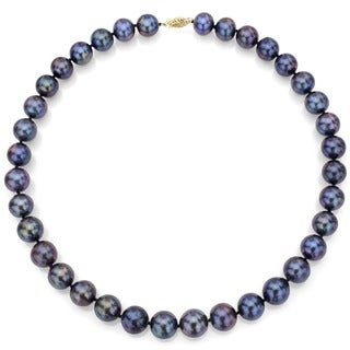 DaVonna 14k Yellow Gold 7-8 mm Black Freshwater Pearl Strand Necklace