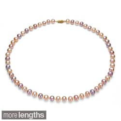DaVonna 14k 7.5-8mm Multi-Pink Freshwater Cultured Pearl Strand Necklace (16-36 inches)