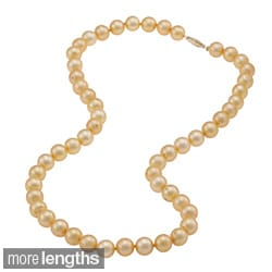 DaVonna 14k 7.5-8mm Gold Freshwater Cultured Pearl Strand  Necklace (16-36 inches)