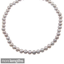 DaVonna 14k 7.5-8mm Grey Freshwater Cultured Pearl Strand Necklace (16-36 inches)