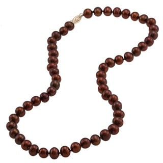 DaVonna 14k 7.5-8mm Brown Freshwater Cultured Pearl Strand Necklace (16-36 inches)