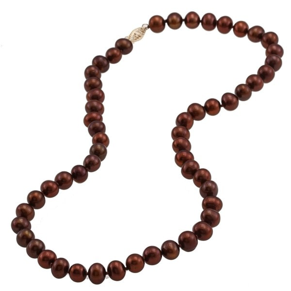 DaVonna 14k 7.5-8mm Chocolate Freshwater Cultured Pearl Strand Necklace (16-36 inches)