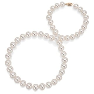 DaVonna 14k Gold White FW Pearl 24-inch Necklace (7.5-8 mm)