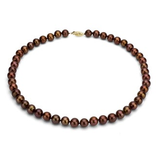 DaVonna 14k Gold Brown FW Pearl 36-inch Necklace (7.5-8 mm)
