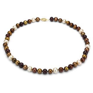 DaVonna 14k Gold 7-8mm Multi Brown Freshwater Pearl Necklace, 36-inch