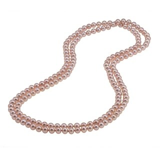 DaVonna Pink Freshwater Pearl 48-inch Endless Necklace (7.5-8 mm) - Pink/48-inch