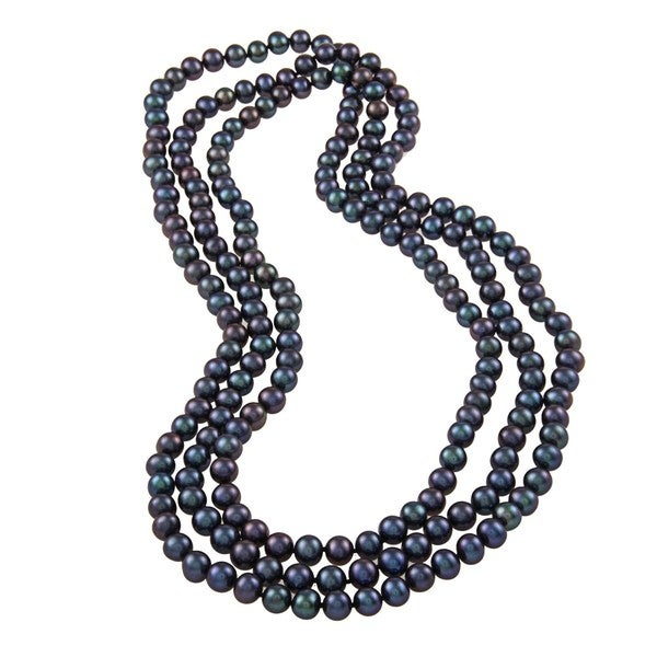 DaVonna Black FW Pearl 64-inch Endless Necklace (7.5-8 mm)